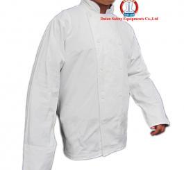 Áo bếp vải kaki cotton trắng