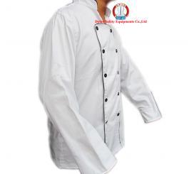 Áo bếp vải kaki LDHQ trắng viền đen, nam DT