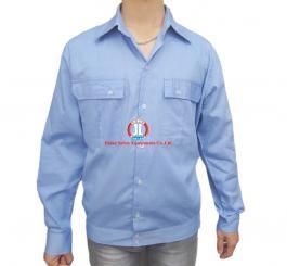 Áo bảo hộ vải thô xanh HB mỏng (DT + CT)