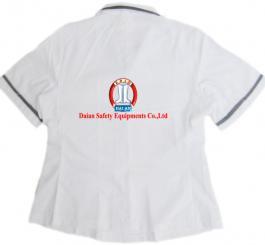 Áo CN vải lon ( thô BĐ ) trắng nữ có viền đen ( tím than ) CT
