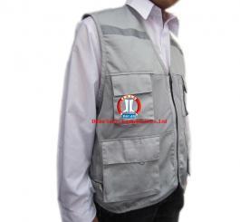 Áo gile 1 lớp có lưới & phản quang, vải kaki Nhật tĩnh điện mầu ghi ( pha )