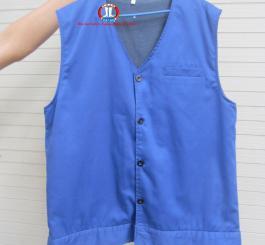 Áo rét trấn thủ mầu xanh dương vải kk LDHQ ( Kiểu gi lê, 3 lớp )