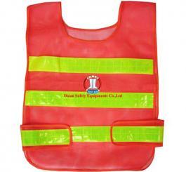 Áo phản quang màu đỏ - lưới nhựa TQ ( PQ ngang )