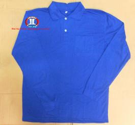 Áo phông vải dệt kim lỳ, cổ bẻ, DT (màu xanh dương)