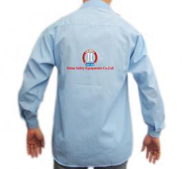 Áo sơ mi vải lon xanh Hòa Bình đã in ngực (cỡ trung)