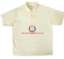 Áo phông vải dệt kim tổ ong cổ bẻ, CT ( mầu vàng cam chanh )