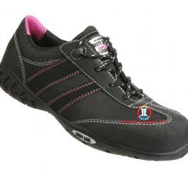 Giày da Bỉ nữ - da trơn đen thấp cổ viền hồng