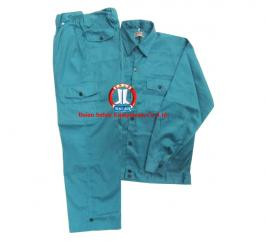 Quần áo bảo hộ kaki NĐ may túi hộp (cam+xanh két)
