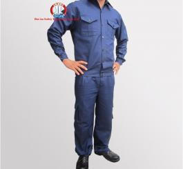 Quần áo bạt chống cháy chéo mỏng cotton  mầu tím than ( kiểu túi hộp )