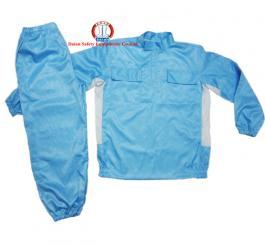 Quần áo vải tĩnh điện Vinilon xanh kẻ TQ (bộ rời có lưới trắng, hàng kỹ)