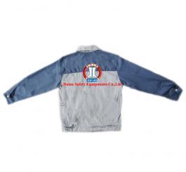 Áo Bảo Hộ vải kaki 7500 phối mầu ghi + ghi chì ( kiểu Nhật kéo khóa) )