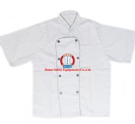 Áo bếp vải thô trắng viền đen, nam CT