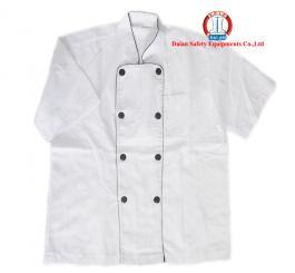 Áo bếp vải kaki LDHQ trắng viền đen, nam CT