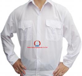 Áo bảo hộ vải lon Nhật màu trắng Hòa Bình