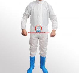 Áo liền quần vải tĩnh điện Vinilon trắng kẻ TQ
