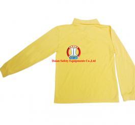 Áo phông vải dệt kim tổ ong cổ bẻ, DT (màu vàng cam chanh)