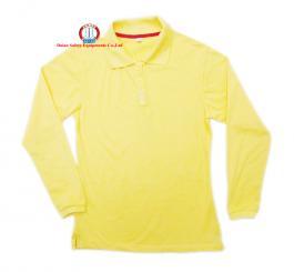 Áo phông vải dệt kim tổ ong cổ bẻ, Nữ CT+DT (mầu vàng cam chanh)