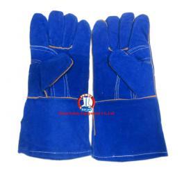 Găng da dài - da lộn mềm chống nóng EU ( 2 lớp, 1 mầu xanh )