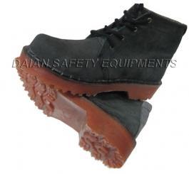 Giày da lộn cao cổ đế kếp/đế cao su đen