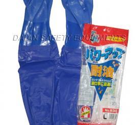 Găng cao su chống dầu TQ màu xanh dương dài tới nách