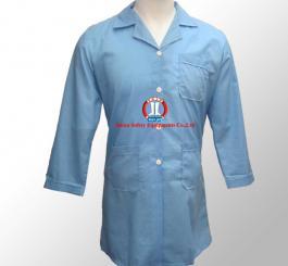 Áo blu vải lon (thô) trắng +xanh ( nam, nữ DT + CT ) may thường