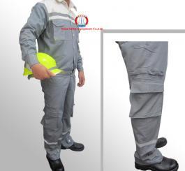 Quần áo bạt dày chống cháy các mầu ( Kiểu túi hộp, phối mầu )